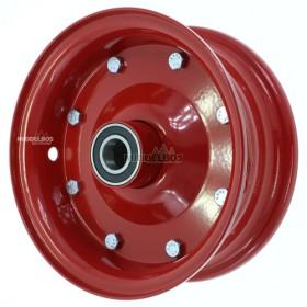 Velg rood 3.00D-8 meerdelig | Vorkwiel met kogellagers - Asgat: 25mm