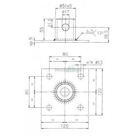 Adapter voor Steunpoot / Steunbuis 140164 | Simol
