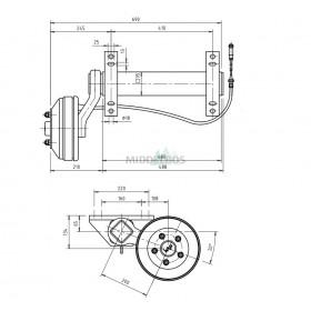 Halfas linker uitvoering WAP WAG180B/1 (1800 kg) naaf/steek: 63/112, 5 gaats