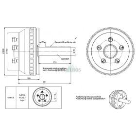 Halfas linker uitvoering WAP WST150B/205 (750 kg) naaf/steek: 63/112, 5 gaats