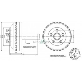 Halfas linker uitvoering WAP WST180B/235 (900 kg) naaf/steek: 63/112, 5 gaats