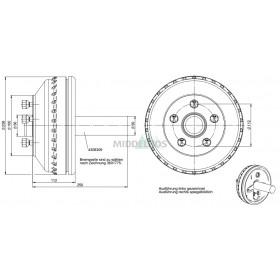 Halfas rechter uitvoering WAP WST180B/235 (900 kg) naaf/steek: 63/112, 5 gaats
