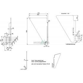 Zijplaat voor onderrijbumper WUF100S / MSK WAP | Lengte: 525mm